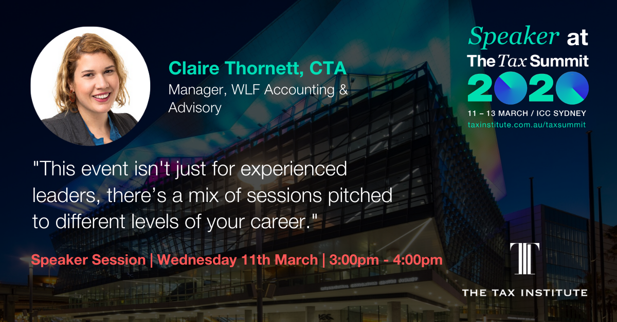 Claire Thornett explains that The Tax Summit isn't just for experienced leaders, there's a mix of sessions pitched to different levels of your career.